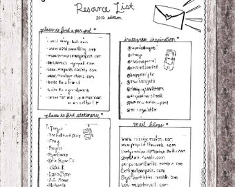 INSTANT DOWNLOAD: I Love Snailmail Resource List