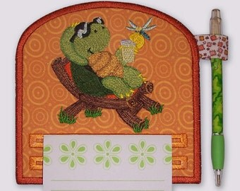 Relaxing Turtle with Lemonade Magnetic Embroidered Notepad Holder