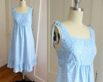 Lanz Blue and White Cotton Sundress - Floral Print - 1970s - Summer Dress - Calico Print - Small Dress