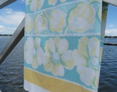 Vintage Tablecloth - Mid Century Floral Tablecloth -  Cottage Chic Glamper Tablecloth -Yellow AquaFloral Tablecloth -Free Shipping -5MTT16