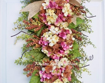 "Pink~Hydrangea Wreath Swag~Winter, Spring, Summer, Fall~for front door decorating~floral swag~""Neapolitan Delight""~ Timeless Floral Creation"