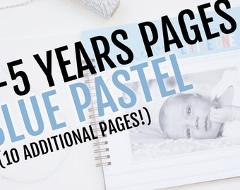 2-5 Years Pack for Blue Pastel Baby Book // 10 Additional Pages!