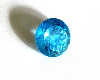 Swiss Topaz Faceted Round Portuguese Cut ~ 8mm Natural Blue Gemstone ~ December Birthstone
