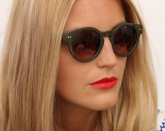 Vintage Style Round Green Sunglasses