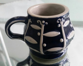 Antique Vintage miniature stoneware mug / cup / tankard w handle Blue & White Glaze