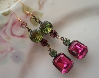 DANGLE EARRINGS Assemblage Bride Bridesmaids Mother Fuchsia Chrysolite Mint Green Shabby Rustic Chic Elegant One of a Kind