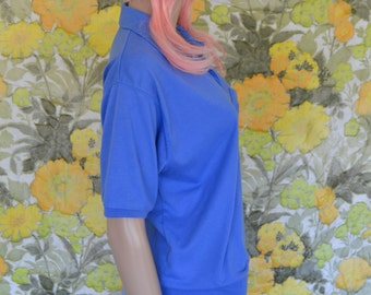Rude Girl - periwinkle blue collared shirt - vintage polo tee - blue t shirt - womens polo - t shirt with breast pocket - casual top
