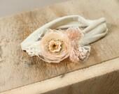 Peach Kisses - dainty headband in peach, beige and cream (RTS)