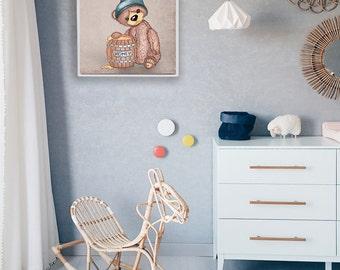 Teddy Bear Drawing Printable - Printable Art - Kids Wall Art - Nursery Room Decor