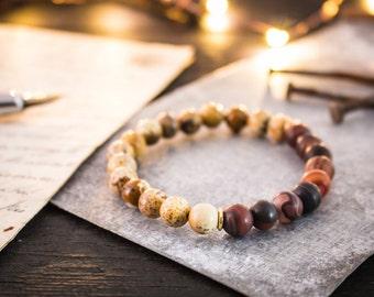 8mm - Jasper stone & dream agate beaded stretchy bracelet, spartans bracelet, gemstone bracelet, mens beaded bracelet