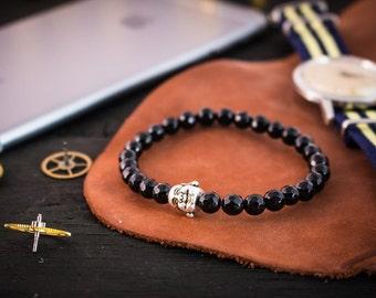 6mm - Faceted black onyx beaded bracelet w/ Buddha, made to order gemstone bracelet, mens bracelet, womens beaded bracelet