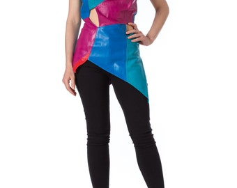 1960s Leather Multicolor Patchwork Cutout Top