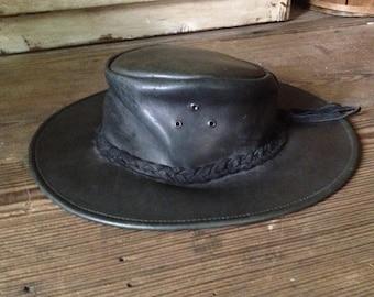 Australian Outback Bush Hat Leather Black Suede Medium