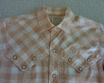H Bar C HbarC 1950s 1960s vintage western shirt. Lurex stripe dobby white and tan plaid check Medium M. Ernest Tubb wears on TV