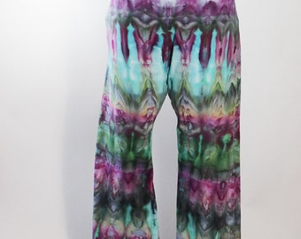 Size Large Lady's  Chakra Yoga Pants, Ice Dyed Tie Dyed in Purple Emerald,  Fanfold Design. Roll Waist, Ready To Ship