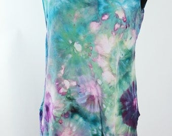 Size Small  Tank Tunic, Rayon, Ice Dyed Tie Dyed Faerie Dust,  READY To SHIP