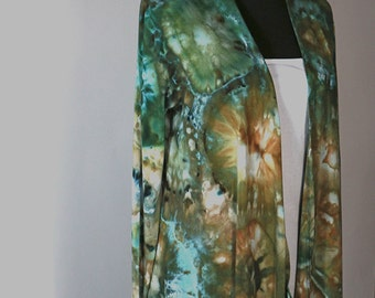 Rayon Jersey Waterfall Jacket, Cardigan,  Tie Dyed, Ice Dyed,  Green Agate Design, Made To Order