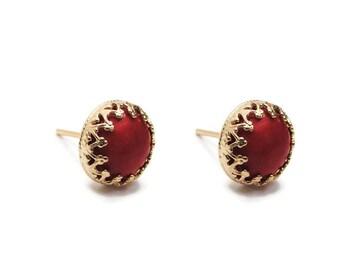 Coral earrings. Gold gem earrings. gift for her, stud earrings, gem stud earrings, coral stud earrings.