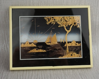 Vintage Small Cork Carved Wall Art Sailing Boat with Tree Landscape Picture in Frame