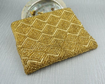 Beautiful 1960s Gold Beaded Heavy Fabric Metallic Small Clutch Purse Ladies Bag Made in Hong Kong