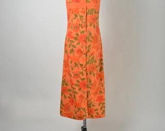 Vintage 1960s 60s Hawaiian Cotton Dress Orange Tangerine Hibiscus Butterfly Floral Print Maxi