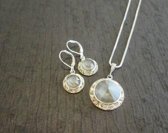 SALE-Dark Grey Bridesmaid Jewelry Set/Grey Bridesmaid Earrings/Bridesmaid Gift/Swarovski Dark Grey Crystal Earrings/Grey Crystal Necklace