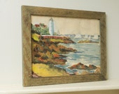 Watercolor Lighthouse Sailboats Painting Signed