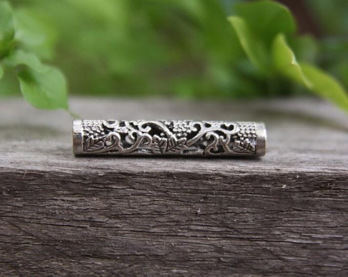 5 Tibetan Style Silver Tube Dreadlock Beads 5mm Hole (3/16 Inch)