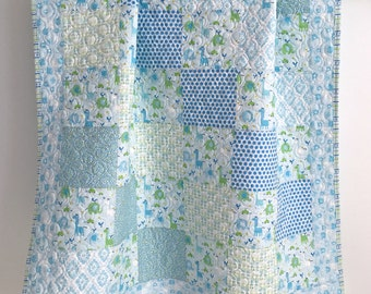Modern Baby Boy Quilt featuring Bobo Baby Collection Blue Green White