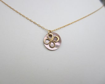 MOP Disc with Goldfilled Wire Bloom Necklace