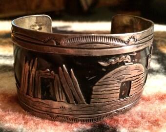 Vintage Signed Navajo Sterling Silver Storyteller Cuff Bracelet   57.5 grams