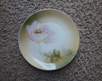Set of Five (5) Vintage Hand Painted German Porcelain Plates with Pink Flower