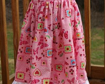 Girls Easter Jumper - Girls Sundress - Ruffle Dress - Spring Dress - Modest Dress - Girls Pink Dress - White Dress - Party Dress -