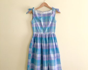 Vintage Pastel Plaid Day Dress  / Turquoise & Lavender Sundress Dress / Full Skirted Dress / Buffalo Plaid Pleated Dress - 1950s