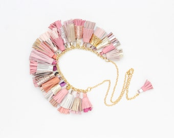 BOUQUET 69 / Mixed color natural leather tassel statement everyday necklace in pastel shades - Ready to Ship