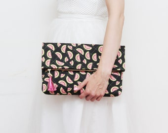 HANDY 7 / Large daily purse- hand quilted bag-black pink green bag- oversized clutch- watermelon bag- tropic print clutch- Ready to Ship
