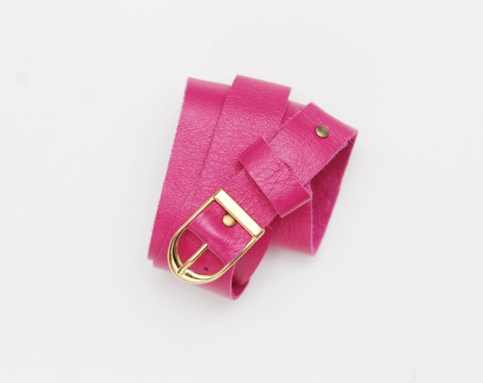 Reserved for Jyoti/Natural leather bright color belt - Ready to Ship
