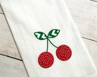 Cherries Applique Kitchen Towel - Cherries Towel - Cherries - Applique Towel - Kitchen Towel - Dish Towel - Flour Sack Towel - Tea Towel