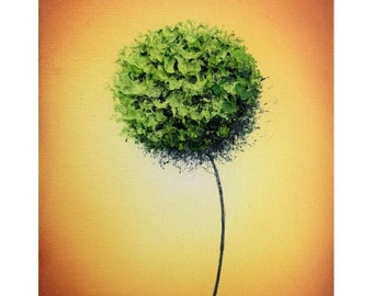Green Dandelion Abstract Art Print, Abstract Flower Art, Contemporary Gold and Green Wall Art, Print of Modern Minimalist Art, 5x7, 9x12