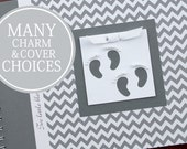 TWIN Pregnancy Journal | Pregnancy Gift for Twins | Personalized Pregnancy Scrapbook for Twins | Gray & White Chevron with Twin Footprints