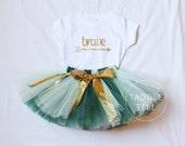 BRAVE Birthday Girl Tutu Set Mint & Green - Birthday TShirt and Tutu Skirt - 3 Months - 5T