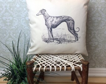 Vintage Greyhound Ilustration Pillow Cover