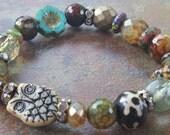 The Hoot Stretch Bracelet, bohemian bracelet, stacking bracelet, Owl Jewelry, Luxe Jewelry, Neutral Jewels