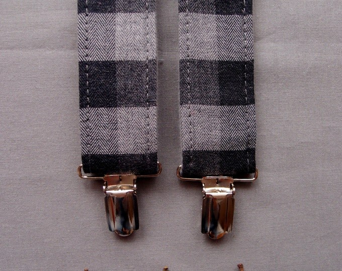 Checkered Mens Suspenders, Gray Suspenders, Mens Braces, Suspenders Y-back, Suspenders for men, Hipster suspenders, Valentines gift for him
