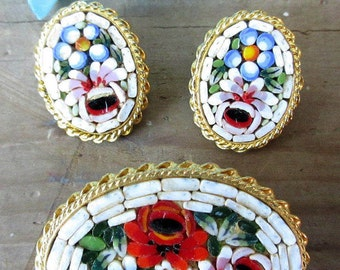 Made in Italy Mosaic Glass  Clip Earring and Brooch Set/Pretty Italian White and Floral Jewelry/Italian Made Jewelry