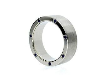 Blue sapphire wedding band, palladium ring, men sapphire ring, modern ring, men wide wedding ring, blue wedding band, man sapphire ring