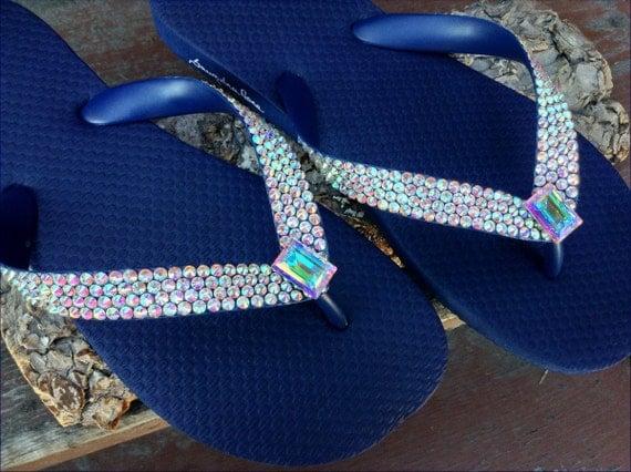 Custom Crystal Flip Flops Aurora Boreale Rocks w/ Swarovski AB Baguette Rhinestone Havaianas or Cariris Wedge Heel Beach Thong Sandal Shoes