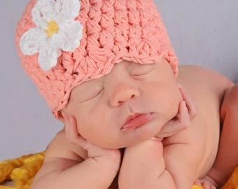 Newborn Baby Girl Hat Newborn Baby Hat Newborn Girl Hat Peach Baby Hat Orange Crochet Flower Hat Flapper Beanie Photo Prop Baby Girl Clothes