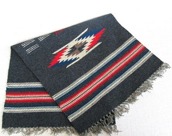 Vintage Chimayo Weaving, Woven Table Runner, Vintage Wool Folk Art Weaving, Southwest Woven Mat