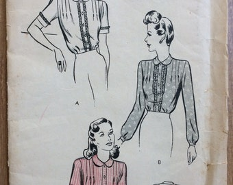 UNCUT Vintage 1940's Blouse Pattern Butterick 2494